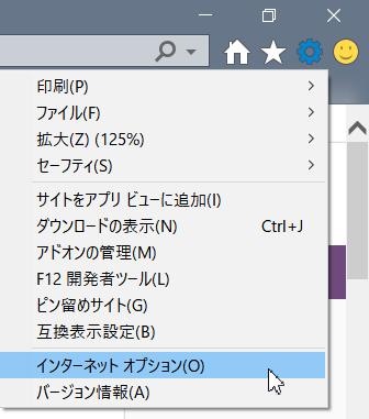 Internet Explorer 設定メニュー